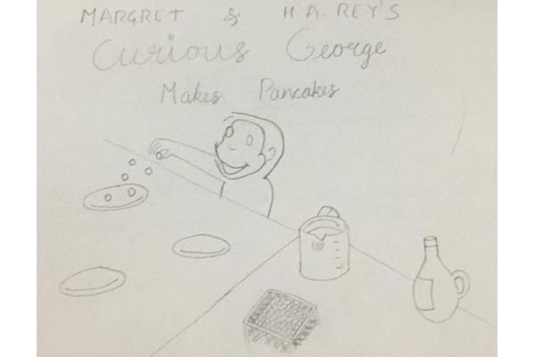 Art based on book - Curious George makes Pancakes by Margret and HA Rey